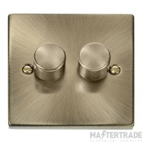 Click Deco Antique Brass 2 Gang 2 Way 400W Dimmer Switch VPAB152