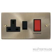 Click Deco Antique Brass 45A DP Switch and Socket VPAB204BK