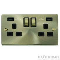 Click Deco Antique Brass Twin USB Double Socket VPAB580BK