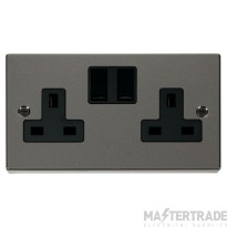 Click Deco Black Nickel 13A Double Switched Socket VPBN036BK