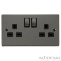 Click Deco Black Nickel 13A Double Switched Socket VPBN536BK