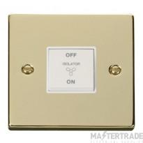 Click Deco Polished Brass 3 Pole Fan Isolator Switch VPBR020WH