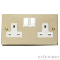 Click Deco Polished Brass 13A Double Switched Socket VPBR036WH