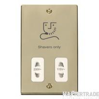 Click Deco 115/230V Shaver Socket Dual Voltage Polished Brass VPBR100WH