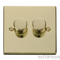 Click Deco Polished Brass 2 Gang 2 Way Dimmer Switch VPBR152