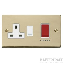 Click Deco Polished Brass 45A DP Switch & Socket VPBR204WH