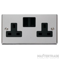 Click Deco Polished Chrome 13A Double Switched Socket VPCH036BK