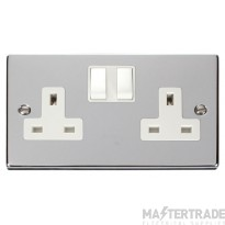 Click Deco Polished Chrome 13A Double Switched Socket VPCH036WH