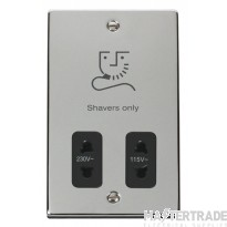 Click Deco 115/230V Shaver Socket Dual Voltage Polished Chrome VPCH100BK