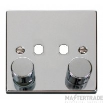Click Polished Chrome 2G Empty Dimmer Plate with Knobs VPCH152PL