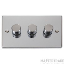 Click Deco Polished Chrome 3 Gang 2 Way Dimmer Switch VPCH153