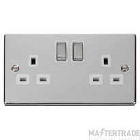 Click Deco  Polished Chrome 13A Double Switched Socket VPCH536WH