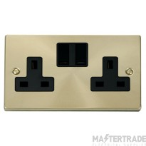Click Deco Satin Brass 13A Double Switched Socket VPSB036BK