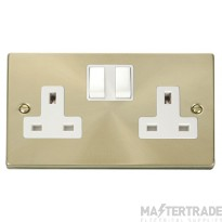 Click Deco Satin Brass 13A Double Switched Socket VPSB036WH