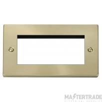 Click Deco Satin Brass New Media 2 Gang Quad Aperture VPSB312