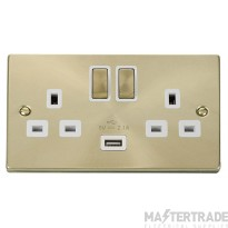 Click Deco Satin Brass USB Double Switched Socket VPSB570WH