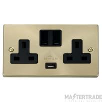 Click Deco Satin Brass USB Double Switched Socket VPSB770BK