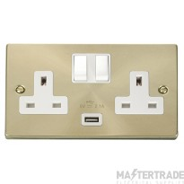 Click Deco Satin Brass USB Double Switched Socket VPSB770WH