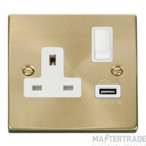 Click Deco Satin Brass USB Single Switched Socket VPSB771WH