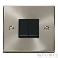 Click Deco Satin Chrome 2 Gang 2 Way Switch VPSC012BK