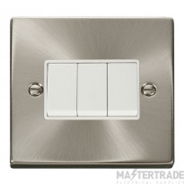 Click Deco Satin Chrome 3 Gang 2 Way Switch VPSC013WH