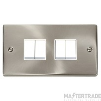 Click Deco Satin Chrome 4 Gang 2 Way Switch VPSC019WH
