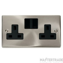 Click Deco Satin Chrome 13A Double Switched Socket VPSC036BK