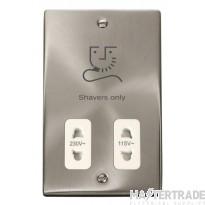 Click Deco 115/230V Shaver Socket Dual Voltage Satin Chrome VPSC100WH