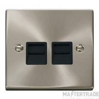 Click Deco Satin Chrome Twin Master Telephone Point VPSC121BK