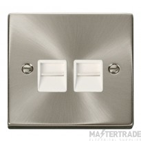 Click Deco Satin Chrome Twin Master Telephone Point VPSC121WH