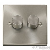 Click Deco Satin Chrome 2 Gang 2 Way 400W Dimmer Switch VPSC152