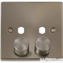 Click Satin Chrome 2G Empty Dimmer Plate with Knobs VPSC152PL