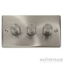 Click Deco Satin Chrome 3 Gang 2 Way 400W Dimmer Switch VPSC153