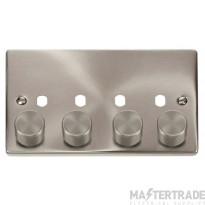 Click Satin Chrome 4G Empty Dimmer Plate with Knobs VPSC154PL