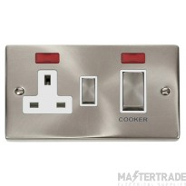 Click Deco Satin Chrome 45A DP Switch and Socket Neon VPSC505WH