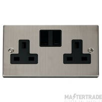 Click Deco Stainless Steel 13A Double Switched Socket VPSS036BK