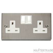 Click Deco Stainless Steel 13A Double Switched Socket VPSS036WH