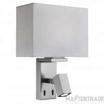 Searchlight 0882SS Two Light Wall Light In Satin Silver With Rectangular Fabric Shade