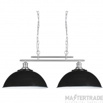 Searchlight 0932-2BK Fusion 2 Light Twin Ceiling Pendant Light In Satin Silver With Two Black Shades