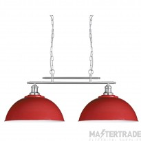 Searchlight 0932-2RE Fusion 2 Light Twin Ceiling Pendant Light In Satin Silver With Two Red Shades