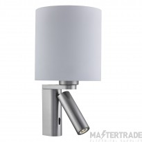 Searchlight 0991SS 2 Light Wall Light In Satin Silver With LED Reading Light And Round Glass Shade