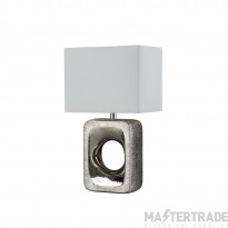 Searchlight Grange Table Lamp - Silver Etched Base, White Shade