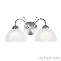 Searchlight 1132-2SS Milanese 2 Light Wall Light In Satin Silver