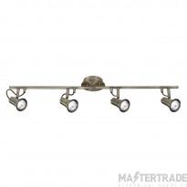 Searchlight 1224AB Eros Antique Brass 4 Light Ceiling Bar Spotlight