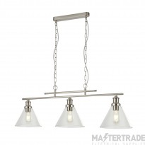 Searchlight 1277-3SS Pyramid 3 Light Linear Pendant Light In Satin Silver