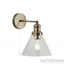 Searchlight 1277AB Pyramid 1 Light Wall Light In Antique Brass