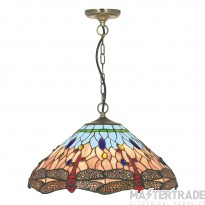Searchlight 1283-16 Dragonfly Tiffany Ceiling Pendant In Antique Brass