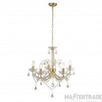 Searchlight 1395-5GO Lafayette 5 Light Ceiling Chandelier In Gold And Crystal Glass