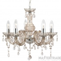 Searchlight 1455-5MI Marie Therese 5 Light Ceiling Pendant Light In Chrome And Mink
