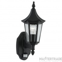 Searchlight 14715 Bel Aire Black PIR Outdoor Lantern Wall Light